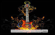 Abstract Guitar with Flames