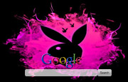 Black and Pink Playboy Bunny logo. Google Homepage
